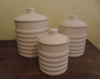 Vintage Canister Set w/Lids~White~Preferred Stock~3 Piece