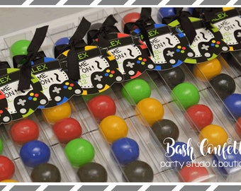 Video Gamer Birthday Party Favors, Gumball Tubes, Bubble Gum Favors