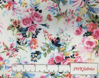 Pink Roses Fabric, Floral Fabric, Fabric by the yard, Fat Quarter, Quilting Fabric, Apparel Fabric, 100% Cotton Fabric, F-8