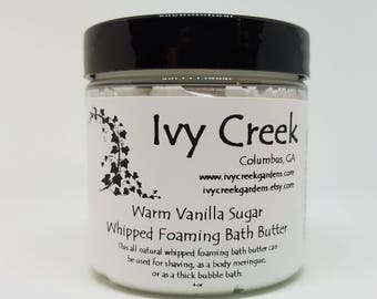 Warm Vanilla Sugar Whipped Foaming Bath Butter, Whipped Bath Soap, Bath Butter, Whipped Soap, Shaving Butter, Gifts for Her, Gifts for Mom