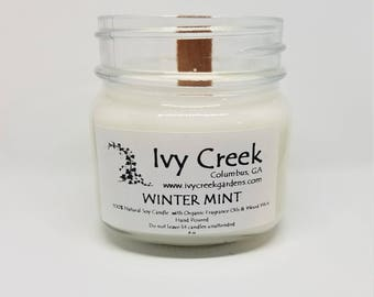 Winter Mint Candle, Winter Mint, Natural Candle, Wood Wick Candle, Crackle Candle, Soy Candle, Wood Wick Candle, Gifts for Her, Christmas