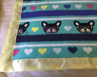 Handmade fleece pet blanket, French bulldogs in glasses!