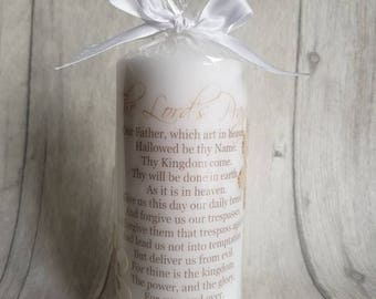The Lords Prayer pillar candle