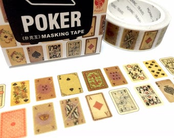 Retro Playing card 7M Washi tape AKQJ10 card games decor Poker Hand Rankings classic poker casino gamble masking tape gift