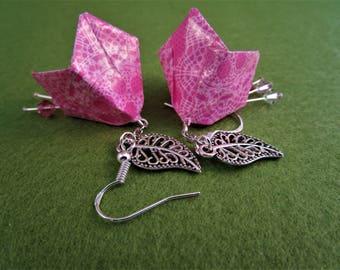 Pink earrings, pink flower earrings, flower earrings, pink flower jewelry, pink jewellery, floral earrings, Bell flower, floral jewelry