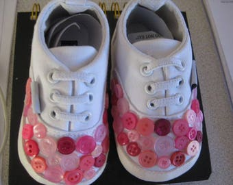 Baby Shoes, Soft cotton shoes, Button shoes, Babys  first shoes, 0-6months, soft sole shoes,