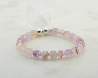 Super 7 / Melody Stone mala bracelet * I am Complete * Sacred 7 sterling silver wrist mala spiritual jewelry