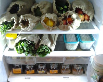1Produce Bag Set - Reusable Produce Bags - Produce Veggie Bag - Grocery Bag - Eco Friendly Produce Bag - Vegan Kitchen - Fabric Produce Bag