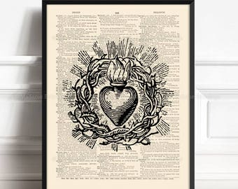 Thorns Print, Priest Gift, Sacred Heart, Gothic Wall Decor, Gift for Him to 50, Christian Tattoo, Grandma Xmas Gift Grandmother Art Gift 222