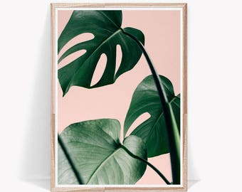 Palm Leaf Print,Pink and Green,Leaf,Art,Tropical Print,Exotic Print,Palm Print,Nature Print,Nature Decor,Plant Print,Wall Print,Interior Art