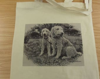 100% Natural Cotton Shopping Tote Bag Bedlington Terrier Colliery Dog Foldable Gift