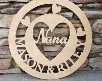 Wooden Custom Door and Wall Hanger; Grandmother, Grandkids; Wall Decorations with Custom Names; FREE SHIPPING, Priority Mail