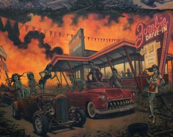 Zombie Drive-In Apocalypse from Alexander Henry Nicole's Prints 8364a classic cars woven cotton fabric
