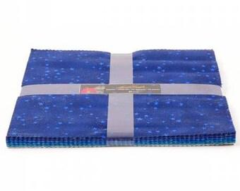 "Laurel Burch Aquatic Layer Cake with Metallic Accents 42 10"" squares TSQ0160 blue cotton precut quilting fabric material"
