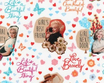 Sweet Marilyn Monroe from Robert Kaufman pink hearts butterflies quilting cotton fabric material by the yard or metre AYO17528287