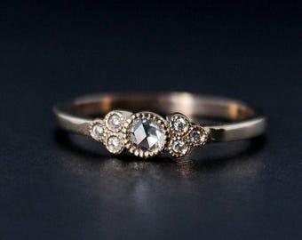 FLASH SALE Rose Cut Diamond Engagement Ring - Hand Milgrain - Vintage Inspired - 14kt Rose Gold