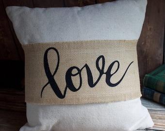 Burlap Pillow Wrap. Pillow Wrap. Decorative Pillow Wrap. Farmhouse Decor. Rustic Pillow Wrap. Cottage Decor. Throw Pillows. Home Decor. Love