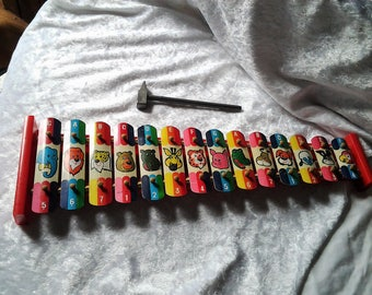 1960s Vintage Metal Xylophone with Plastic Hammer - Bright and Colourful