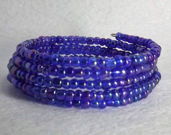 Bracelet of glass seed beads  on memory wire, 5 wrap,  Blue