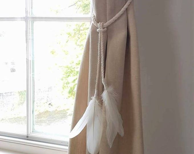 White Cotton Rope Feather Tassel Curtain Tie Backs / Shabby chic curtain ties / nautical curtain hold back/ white rope tie backs Feathers