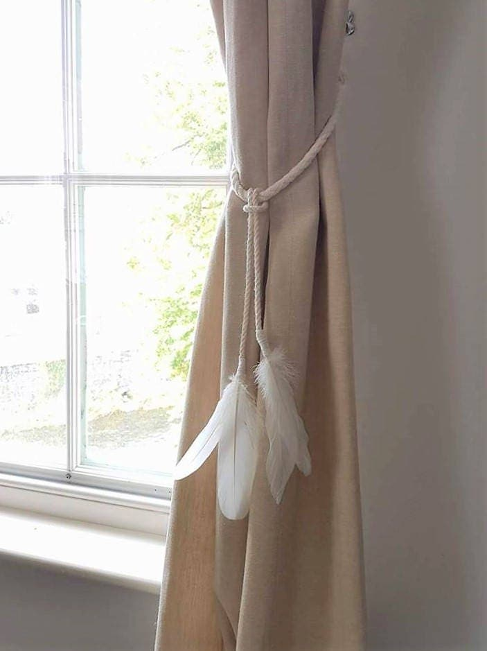 White Cotton Rope Feather Tassel Curtain Tie Backs Shabby Chic Ties Nautical Hold Back Feathers