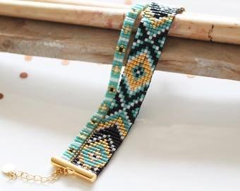Bracelet manchette, bracelet de perles tissées, bracelet femme, bracelet turquoise. bracelet bohème chic, bracelet perles, manchette Miyuki,