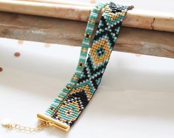 Cuff Bracelet, women bracelet, turquoise bracelet, woven beaded bracelet. boho chic bracelet, bracelet beads, Miyuki cuff.