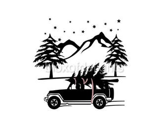 Jeep with Christmas tree on roof winter scene svg for digital download