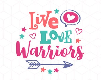 SVG Live Love Warriors Team SVG Cut Basketball Mom, Football, Baseball, Hockey SVG Instant Download Cricut and Silhouette Cutting Files
