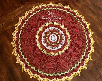 Russet Pineapple Lace Doily - Heart Doily - Farmhouse Decor - Pineapple Crochet Doily - Handmade Doilies - Dining Room Decor - Wedding Gift