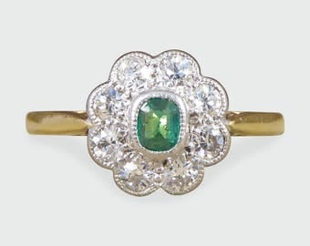 1930's Emerald and Diamond Cluster Ring in 18ct Gold and Platinum RG502