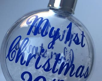 My first Christmas Our first Christmas personalised baubles