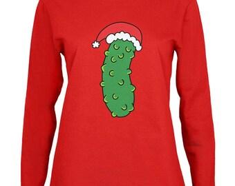 Christmas Pickle Womens Long Sleeve T Shirt