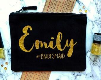 Personalised Bridesmaid Make Up Bag, Personalised Make Up Bag, Personalised Cosmetic Bag, Makeup Bag, Bridesmaid Gift, Custom Make Up Bag