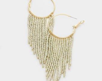 seed bead hoop earrings, beaded hoop earrings, beaded hoops, seed bead earrings, gold silver beaded hoop earrings, fringe hoop earrings