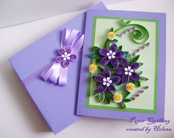 Quilling Card,Thank You Card,Quilled Birthday Card,Mother's Day Card,Delicate Simple Handmade quilling сard,Unusual Gift,Anniversary Cards