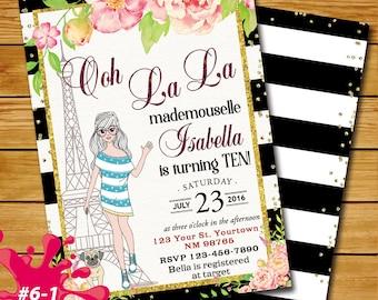 Paris Birthday Gold Peonies Invitation, Eiffel Tower Invite, Paris Invitation, French Party Sweet, Girl Invitation, American Girl in Paris