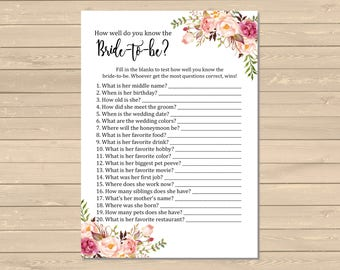 Boho How Well do you Know the Bride to Be Game, Printable Pink Floral Know the Bride Activity, Bohemian Shower Game, Instant Download, 110-W