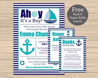 Aqua Nautical Baby Shower Printable Invitation, Book Insert & Diaper Insert, Nautical Baby Shower Invite Package, Navy Aqua, Download, 002-A