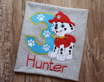 Marshall Paw Patrol birthday shirt, Paw Patrol marshall birthday shirt, Dalmatian dog birthday shirt, Marshall dog applique, Paw patrol