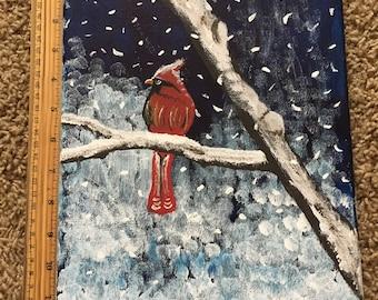 Snowy Winter Red Cardinal Acrylic Painting