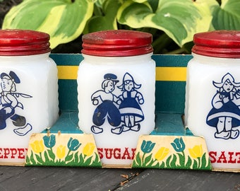 Hazel Atlas White Milk Glass Dutch Boy & Girl Salt, Pepper and Sugar Shaker Set