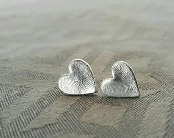 Fingerprint Earrings, Footprint Earrings, Handprint Earrings, Keepsake Earrings, Stud Earrings, Personalised Earrings, Silver Earrings