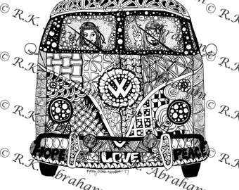 Front VW bus Two people inside Zentangle 8x10 Cardstock Print ( for coloring)