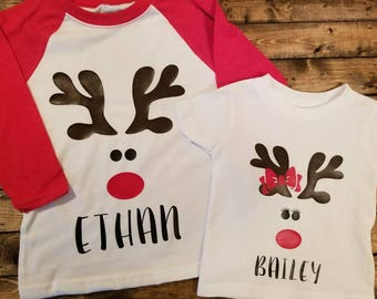 Personalized Reindeer Kids Shirt