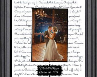 First dance wedding gift, first dance wedding song lyrics, personalized gift, wife husband,  love quotes, valentines day Christmas