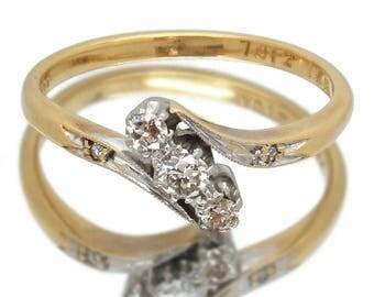Vintage Diamond Engagement Ring, Beautiful / Unique Diamond Crossover Ring, 18ct Gold + Platinum, Mid Century, Free Worldwide Shipping