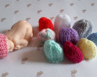 Set of 10 miniature polymer clay baby hats handmade multicolor knit