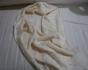 Ivory cashmere shawl and silk