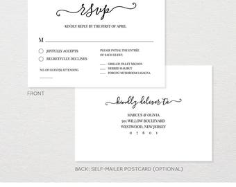 Wedding RSVP Card Template, We Do, Heart Wedding, Printable Postcard Response Card, Instant Download, Editable, Modern Calligraphy #030A